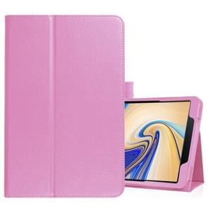 Litchi textuur horizontale Flip lederen case voor Samsung Galaxy tab S4 10 5 T830/T835  met houder (roze)