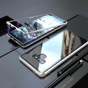 Ultra slanke magnetische adsorptie hoek frame gehard glas magneet flip case voor Galaxy Note9 (zilver)