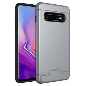 Ultradunne TPU + PC geborsteld textuur schokbestendig beschermende case voor Galaxy S10 PLUS  met houder & kaartsleuf (zilver)