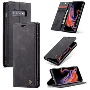 CaseMe-013 multifunctionele Retro Frosted horizontale Flip leren Case voor Galaxy S10 Plus  met kaartslot & houder & portemonnee (zwart)