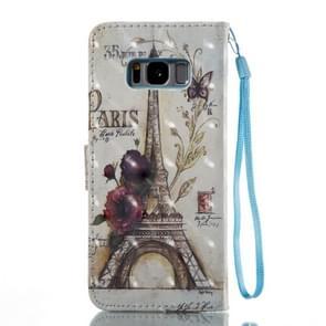 Voor Galaxy S8 PLUS / G9550 Eiffeltoren patroon Flip lederen Case met houder & kaartsleuven & portemonnee & Lanyard