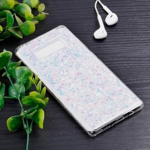 Opmerking voor Galaxy 8 Colorful Glitter poeder stijl zacht beschermhoes (wit)