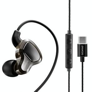 POLVCDG D6T USB-C/type-C interface dubbele bewegende cirkel in oor bedrade stereo oortelefoon voor Xiaomi/OPPO/Huawei/vivo  tuning versie (zwart)