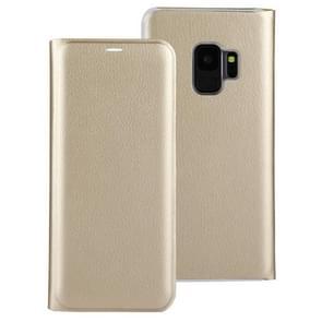Voor Galaxy S9 ultradunne Lichi textuur kaart horizontale Flip lederen draagtas met Slot(Gold)