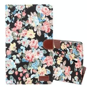 Dibase bloem patroon horizontaal flip PU lederen Case voor Galaxy Tab een 10.5 / T590  met houder & kaartslot (zwart)