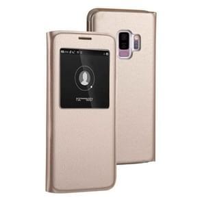 Voor Galaxy S9 PLUS Litchi textuur horizontale Flip lederen draagtas met oproep Display ID (goud)