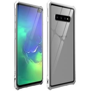Snap-on aluminium frame en gehard glas achterplaat Case voor Galaxy S10 plus (zilver)