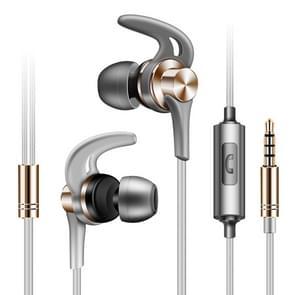 QKZ EQ1 CNC metalen shark fin hoofdtelefoon sport muziek koptelefoon  microfoon versie (goud)
