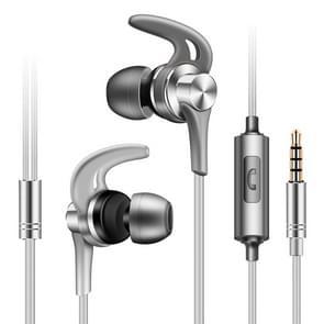 QKZ EQ1 CNC metalen shark fin hoofdtelefoon sport muziek hoofdtelefoon  microfoon versie (zilver)