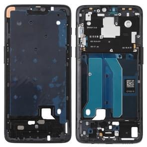 Front behuizing LCD frame bezel plaat met kant toetsen voor OnePlus 6 (Jet zwart)