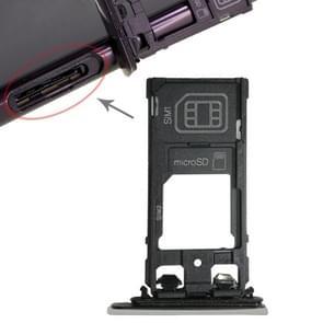 SIM1 kaart lade + SIM2 kaart/micro SD-kaart lade voor Sony Xperia XZ (zilver)