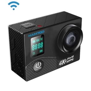 HAMTOD H8A UHD 4K WiFi Sport Camera met waterdicht geval  Allwinner V3 Program  0 66 inch Front Screen  2.0 inch LCD-scherm  170 graden breed Lens van de hoek (zwart)