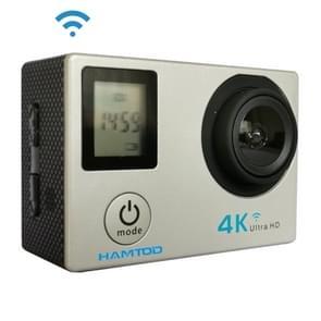 HAMTOD H12 UHD 4K WiFi sport camera met waterdichte behuizing  Generalplus 4247  0 66 inch + 2 0 inch LCD-scherm  170 graden groothoek lens (zilver)