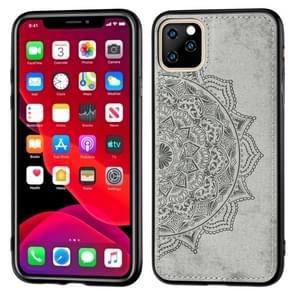 Reliëf Mandala patroon PC + TPU + stof telefoon Case voor iPhone 11 Pro  met Lanyard & magnetische (grijs)