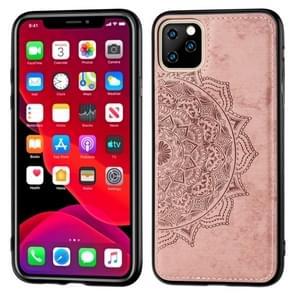Reliëf Mandala patroon PC + TPU + stof telefoon Case voor iPhone XI 2019  met Lanyard & magnetische (Rose Gold)