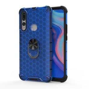 Voor Huawei P30 Lite Schokbestendige honingraat PC + TPU Ring Holder Protection Case(Blauw)
