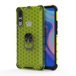 Voor Huawei P30 Lite Schokbestendige honingraat PC + TPU Ring Holder Protection Case(Groen)