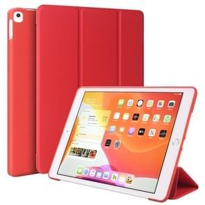 Voor iPad 10 2 inch 2019 / iPad Pro 10 5 inch Drievouwende Surface PU Leather TPU Matte Soft Bottom Case met Holder & Sleep / Wake-up Functie(Rood)