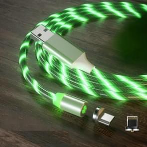 2 in 1 USB naar 8 Pin + Micro USB Magnetic Suction Kleurrijke Streamer Mobiele Telefoon Oplaadkabel  Lengte: 1m (Groen licht)