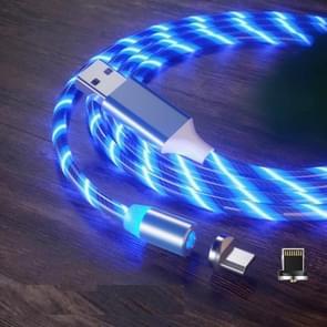 2 in 1 USB naar 8 Pin + Micro USB Magnetic Suction Kleurrijke Streamer Mobiele Telefoon Oplaadkabel  Lengte: 1m (Blauw licht)