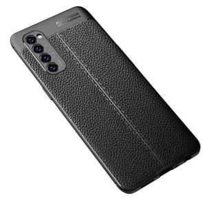 Voor OPPO Reno4 Pro 4G Litchi Texture TPU Shockproof Case(Zwart)