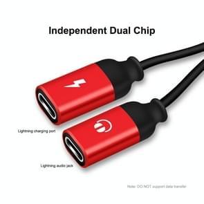 ENKAY ENK-AT104 8 Pin naar Dual 8 Pin Opladen Luister naar nummers Aluminium Alloy Adapter Conversion Cable(Red)