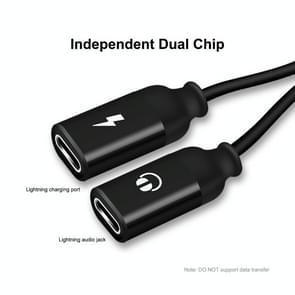 ENKAY ENK-AT104 8 Pin naar Dual 8 Pin Opladen Luister naar songs Aluminium Alloy Adapter Conversion Cable(Zwart)