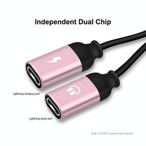 ENKAY ENK-AT104 8 Pin naar Dual 8 Pin Opladen Luister naar songs Aluminium Alloy Adapter Conversion Cable (Rose Gold)