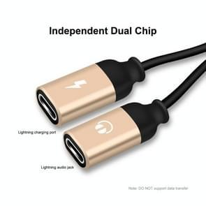 ENKAY ENK-AT104 8 Pin naar Dual 8 Pin Opladen Luister naar nummers Aluminium Alloy Adapter Conversion Cable(Gold)