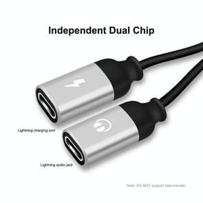 ENKAY ENK-AT104 8 Pin naar Dual 8 Pin Opladen Luister naar songs Aluminium Alloy Adapter Conversion Cable(Zilver)