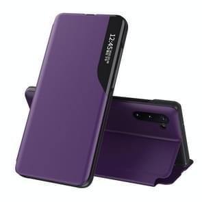 Voor Samsung Galaxy Note 10 Plus Side Display Magnetic Shockproof Horizontale Flip Lederen behuizing met houder(Paars)