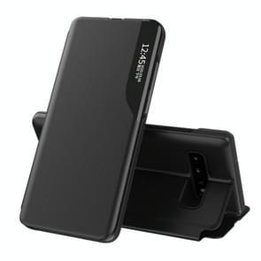 Voor Samsung Galaxy S10 Plus Side Display Magnetic Shockproof Horizontale Flip Lederen behuizing met houder(Zwart)