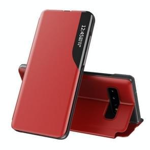 Voor Samsung Galaxy S10 Plus Side Display Magnetic Shockproof Horizontale Flip Lederen behuizing met houder(Rood)