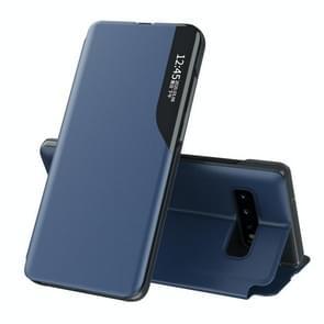 Voor Samsung Galaxy S10 Plus Side Display Magnetic Shockproof Horizontale Flip Lederen behuizing met houder(blauw)