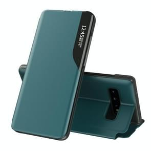 Voor Samsung Galaxy S10 Plus Side Display Magnetic Shockproof Horizontale Flip Lederen behuizing met houder(groen)