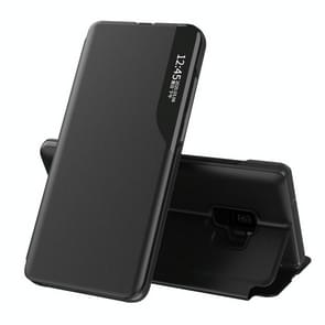 Voor Samsung Galaxy S9 Side Display Magnetic Shockproof Horizontale Flip Lederen Case met houder (zwart)