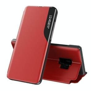 Voor Samsung Galaxy S9 Side Display Magnetic Shockproof Horizontale Flip Lederen Case met houder (Rood)