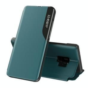 Voor Samsung Galaxy S9 Side Display Magnetic Shockproof Horizontale Flip Lederen Case met houder (groen)