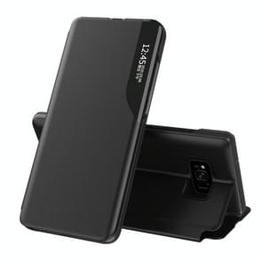 Voor Samsung Galaxy S8 Plus Side Display Magnetic Shockproof Horizontale Flip Lederen behuizing met houder(Zwart)
