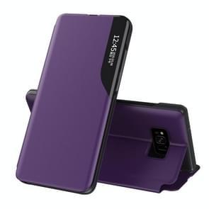 Voor Samsung Galaxy S8 Plus Side Display Magnetic Shockproof Horizontale Flip Lederen behuizing met houder(Paars)