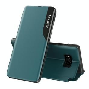 Voor Samsung Galaxy S8 Plus Side Display Magnetic Shockproof Horizontale Flip Lederen behuizing met houder(groen)