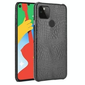 Voor Google Pixel 5 Schokbestendige Krokodiltextuur PC + PU Case(Zwart)
