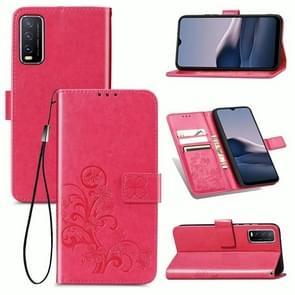 Voor de Vivo Y20 Vierbladige Gesp Reliëf Gesp Mobile Phone Protection Lederen Case met Lanyard & Card Slot & Wallet & Bracket Functie(Magenta)