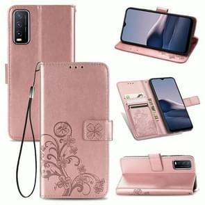Voor de Vivo Y20 Vierbladige Gesp Reliëf Gesp Mobile Phone Protection Lederen Case met Lanyard & Card Slot & Wallet & Bracket Functie(Rose Gold)