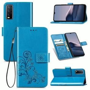 Voor de Vivo Y20 Vierbladige Gesp Reliëf Gesp Mobile Phone Protection Lederen Case met Lanyard & Card Slot & Wallet & Bracket Functie(Blauw)