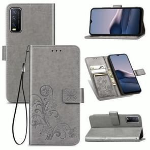 Voor de Vivo Y20 Vierbladige Gesp Reliëf Gesp Mobile Phone Protection Lederen Case met Lanyard & Card Slot & Wallet & Bracket Functie(Grijs)