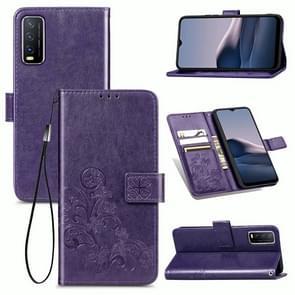 Voor de Vivo Y20 Vierbladige gesp in reliëf gesp mobiele telefoonbeveiliging lederen hoes met Lanyard & Card Slot & Wallet & Bracket Functie(Paars)