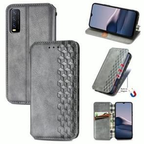 Voor vivo Y20 Cubic Grid Geperst horizontal flip magnetische PU lederen case met Holder & Card Slots & Wallet(Grey)