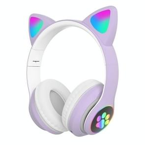 T&G TN-28 3 5mm Bluetooth 5.0 Dual Connection RGB Cat Ear Bass Stereo Noise-cancelling Headphones Support TF Card With Mic(Purple) T&G