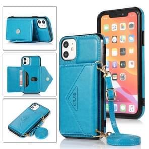 Multifunctionele Cross-body Card Bag TPU+PU Back Cover Case met Holder & Card Slot & Wallet Voor iPhone 11 Pro(Blauw)
